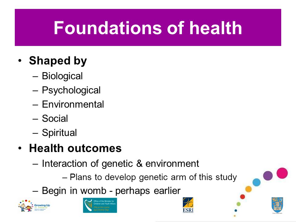 Foundations of health Shaped by –Biological –Psychological –Environmental –Social –Spiritual Health outcomes –Interaction of genetic & environment –Plans to develop genetic arm of this study –Begin in womb - perhaps earlier