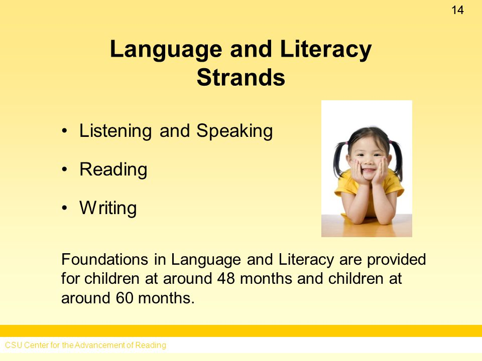 14 Language and Literacy Strands Listening and Speaking Reading Writing Foundations in Language and Literacy are provided for children at around 48 months and children at around 60 months.