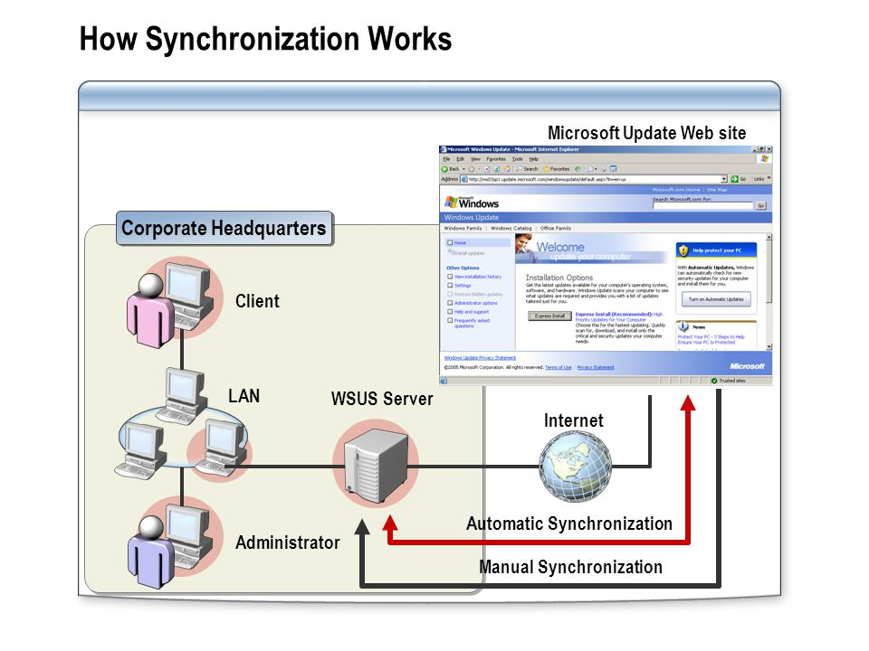 How Synchronization Works WSUS Server Microsoft Update Web site Internet Corporate Headquarters Client Administrator LAN Automatic Synchronization Manual Synchronization