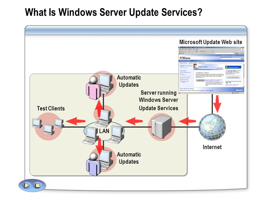 Automatic Updates Server running Windows Server Update Services Automatic Updates LAN What Is Windows Server Update Services.