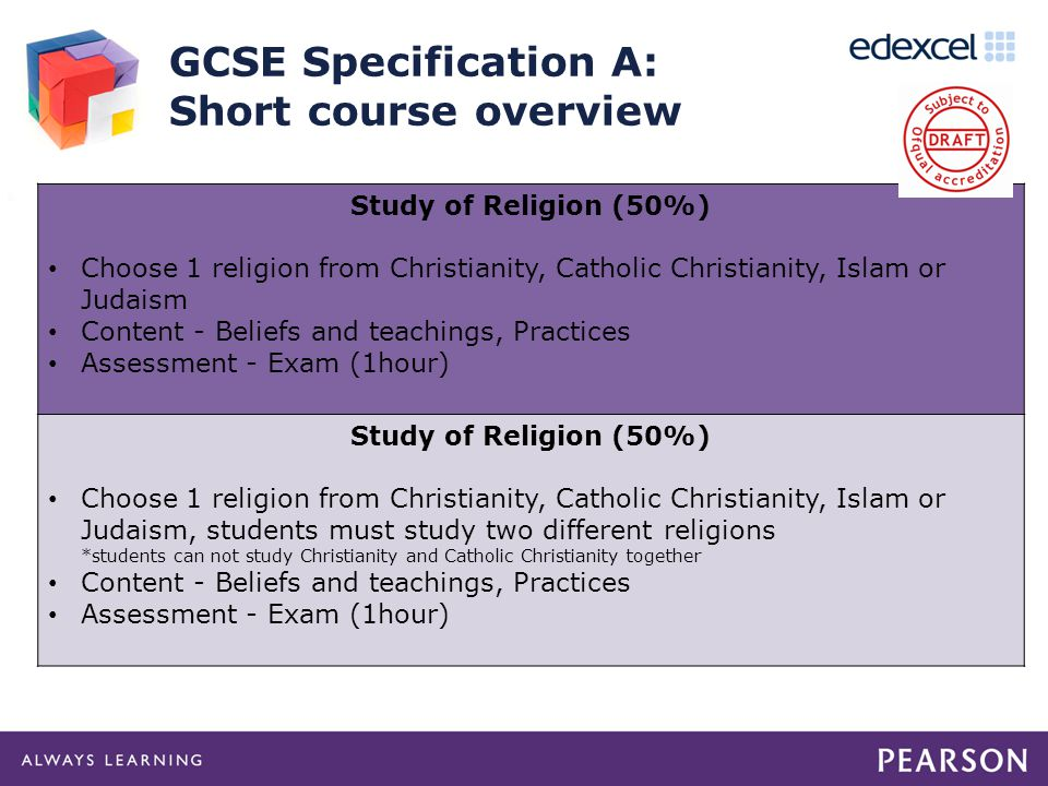GCSE Specification A: Short course overview Study of Religion (50%) Choose 1 religion from Christianity, Catholic Christianity, Islam or Judaism Content - Beliefs and teachings, Practices Assessment - Exam (1hour) Study of Religion (50%) Choose 1 religion from Christianity, Catholic Christianity, Islam or Judaism, students must study two different religions *students can not study Christianity and Catholic Christianity together Content - Beliefs and teachings, Practices Assessment - Exam (1hour)