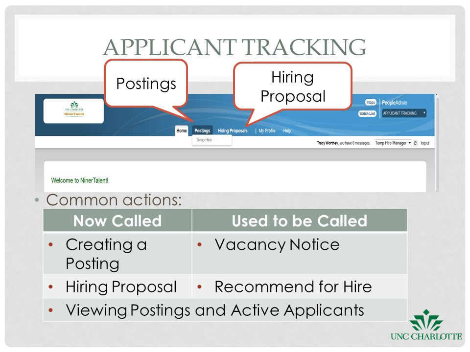 Common actions: APPLICANT TRACKING Now CalledUsed to be Called Creating a Posting Vacancy Notice Hiring Proposal Recommend for Hire Viewing Postings and Active Applicants Hiring Proposal Postings