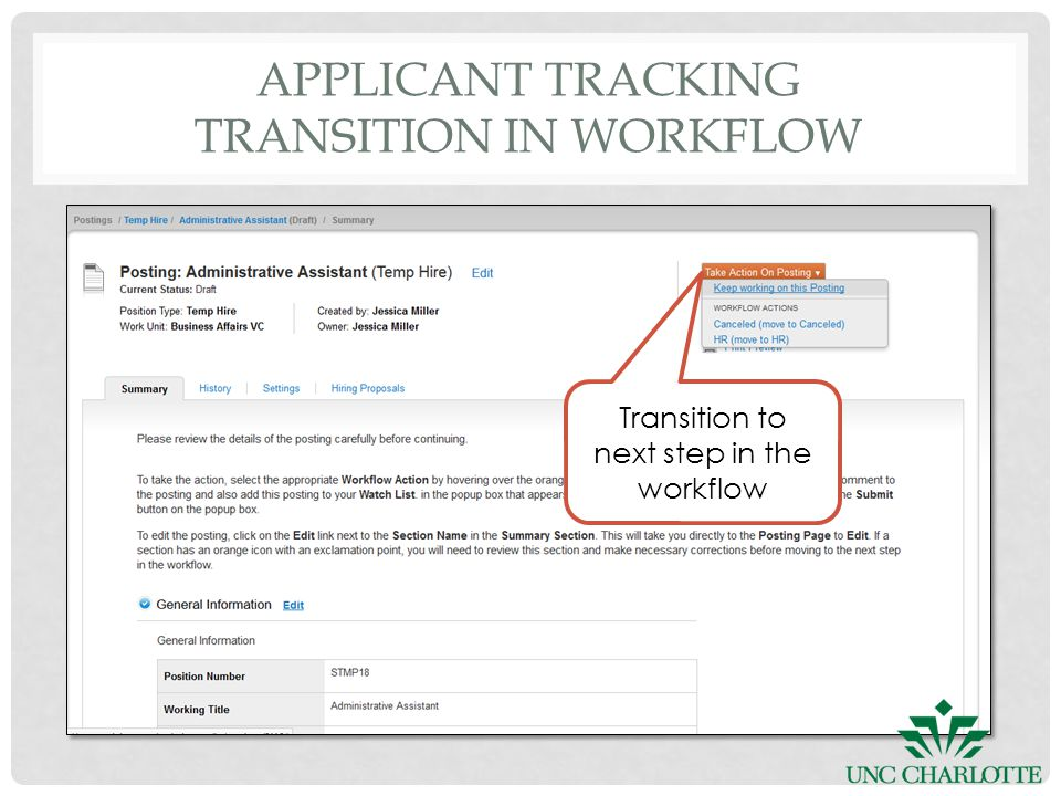 APPLICANT TRACKING TRANSITION IN WORKFLOW Transition to next step in the workflow