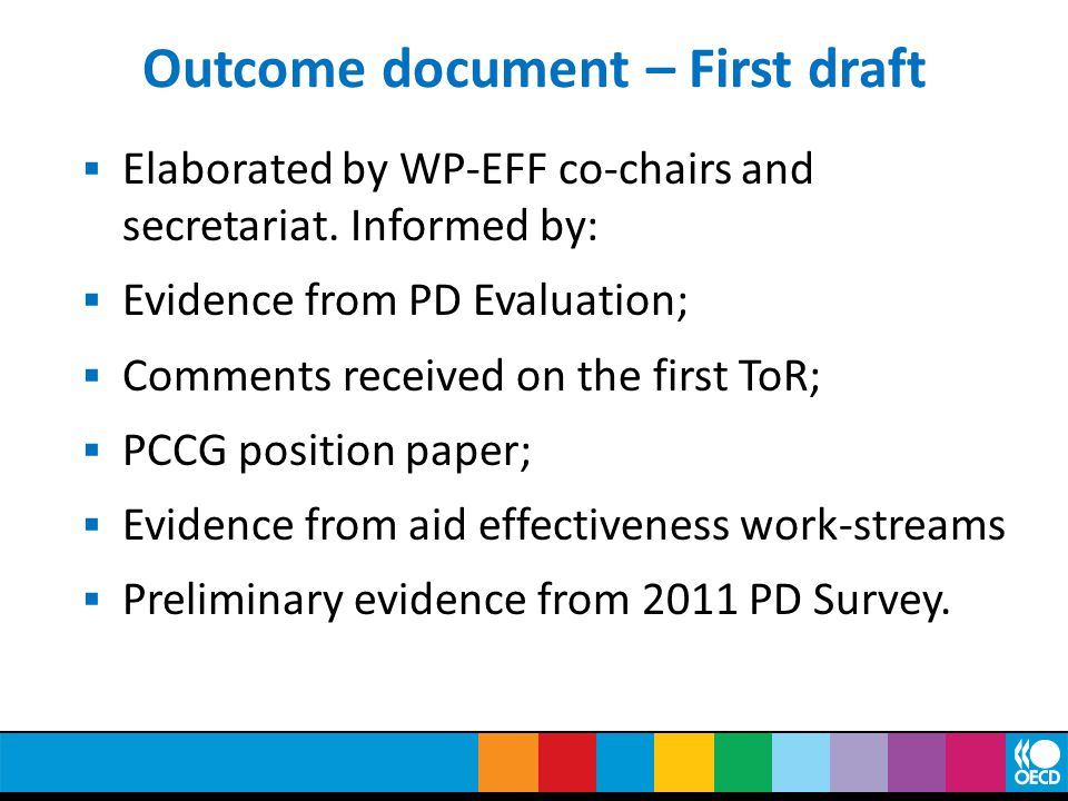 Outcome document – First draft  Elaborated by WP-EFF co-chairs and secretariat.