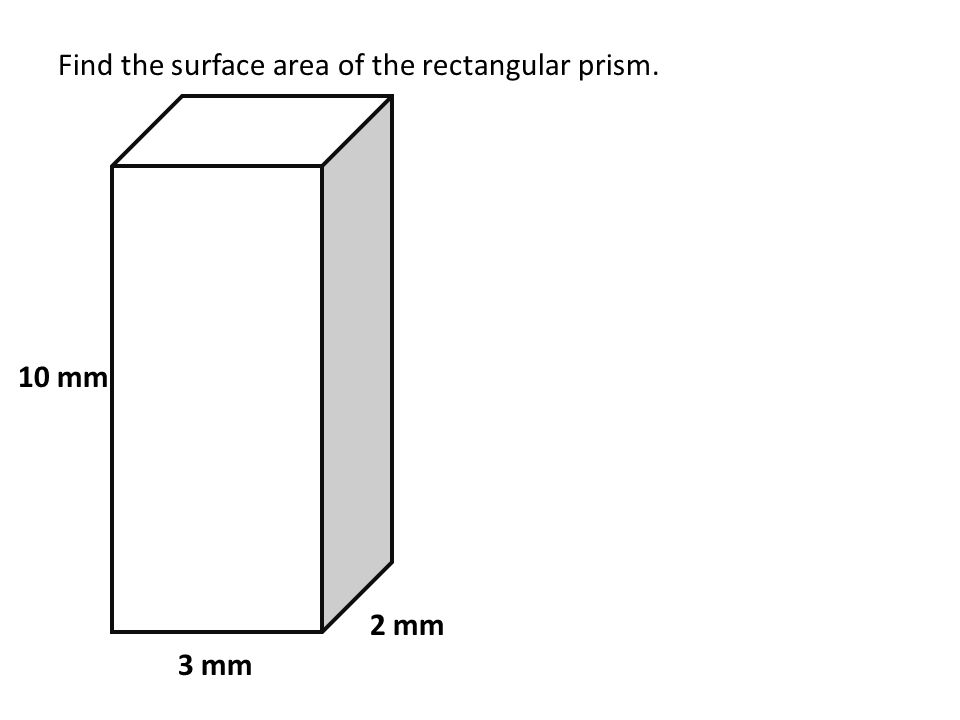 Find the surface area of the rectangular prism. 3 mm 10 mm 2 mm