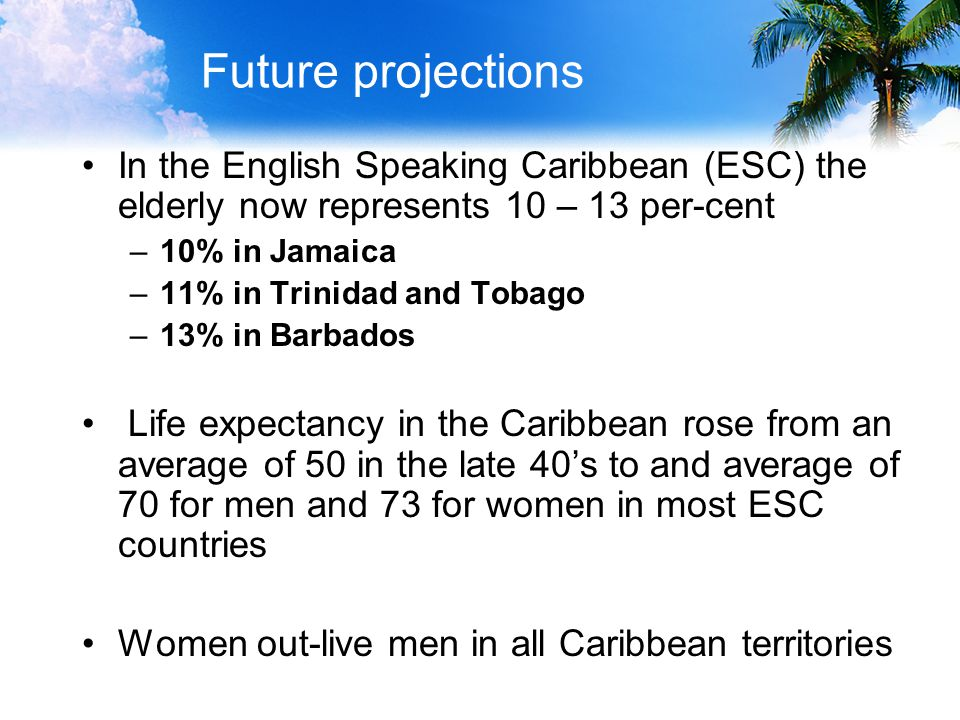 Future projections In the English Speaking Caribbean (ESC) the elderly now represents 10 – 13 per-cent –10% in Jamaica –11% in Trinidad and Tobago –13% in Barbados Life expectancy in the Caribbean rose from an average of 50 in the late 40's to and average of 70 for men and 73 for women in most ESC countries Women out-live men in all Caribbean territories