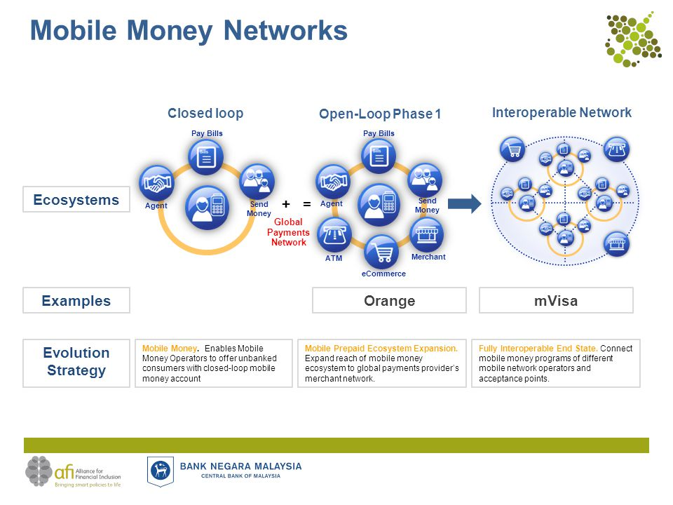 Mobile Money Networks Closed loop Interoperable Network Ecosystems Evolution Strategy Mobile Money.