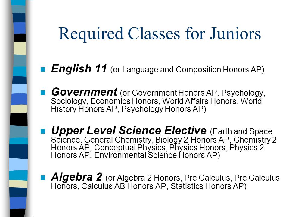 Required Classes for Juniors n English 11 (or Language and Composition Honors AP) n Government (or Government Honors AP, Psychology, Sociology, Economics Honors, World Affairs Honors, World History Honors AP, Psychology Honors AP) n Upper Level Science Elective (Earth and Space Science, General Chemistry, Biology 2 Honors AP, Chemistry 2 Honors AP, Conceptual Physics, Physics Honors, Physics 2 Honors AP, Environmental Science Honors AP) n Algebra 2 (or Algebra 2 Honors, Pre Calculus, Pre Calculus Honors, Calculus AB Honors AP, Statistics Honors AP)
