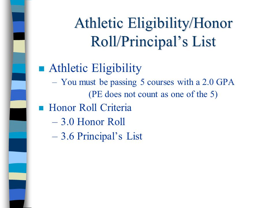 Athletic Eligibility/Honor Roll/Principal's List Athletic Eligibility –You must be passing 5 courses with a 2.0 GPA (PE does not count as one of the 5) Honor Roll Criteria –3.0 Honor Roll –3.6 Principal's List