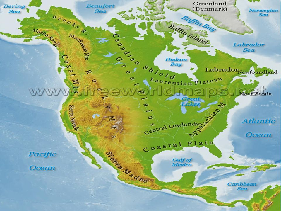 North American Physical Geography Highlands Plains And Plateaus - Physical geography map of the united states