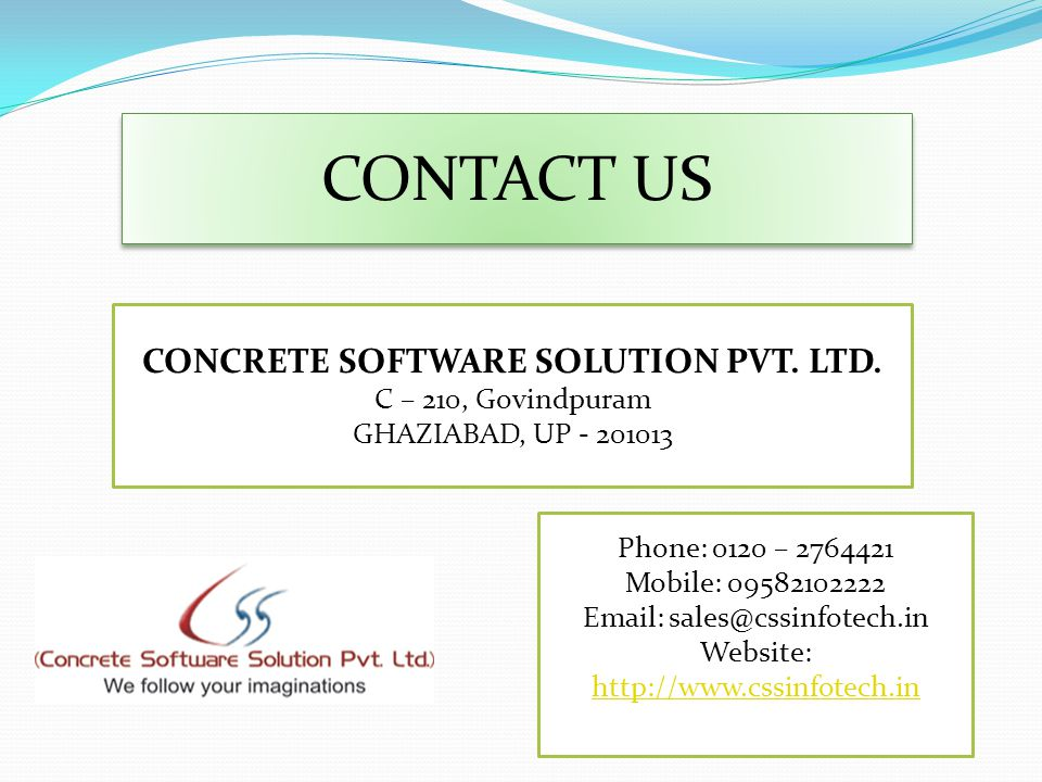 CONTACT US CONCRETE SOFTWARE SOLUTION PVT. LTD.