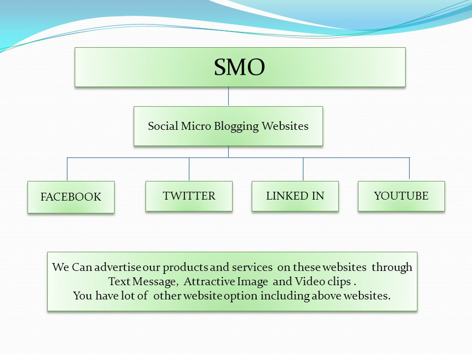 SMO YOUTUBE FACEBOOK TWITTER LINKED IN Social Micro Blogging Websites We Can advertise our products and services on these websites through Text Message, Attractive Image and Video clips.