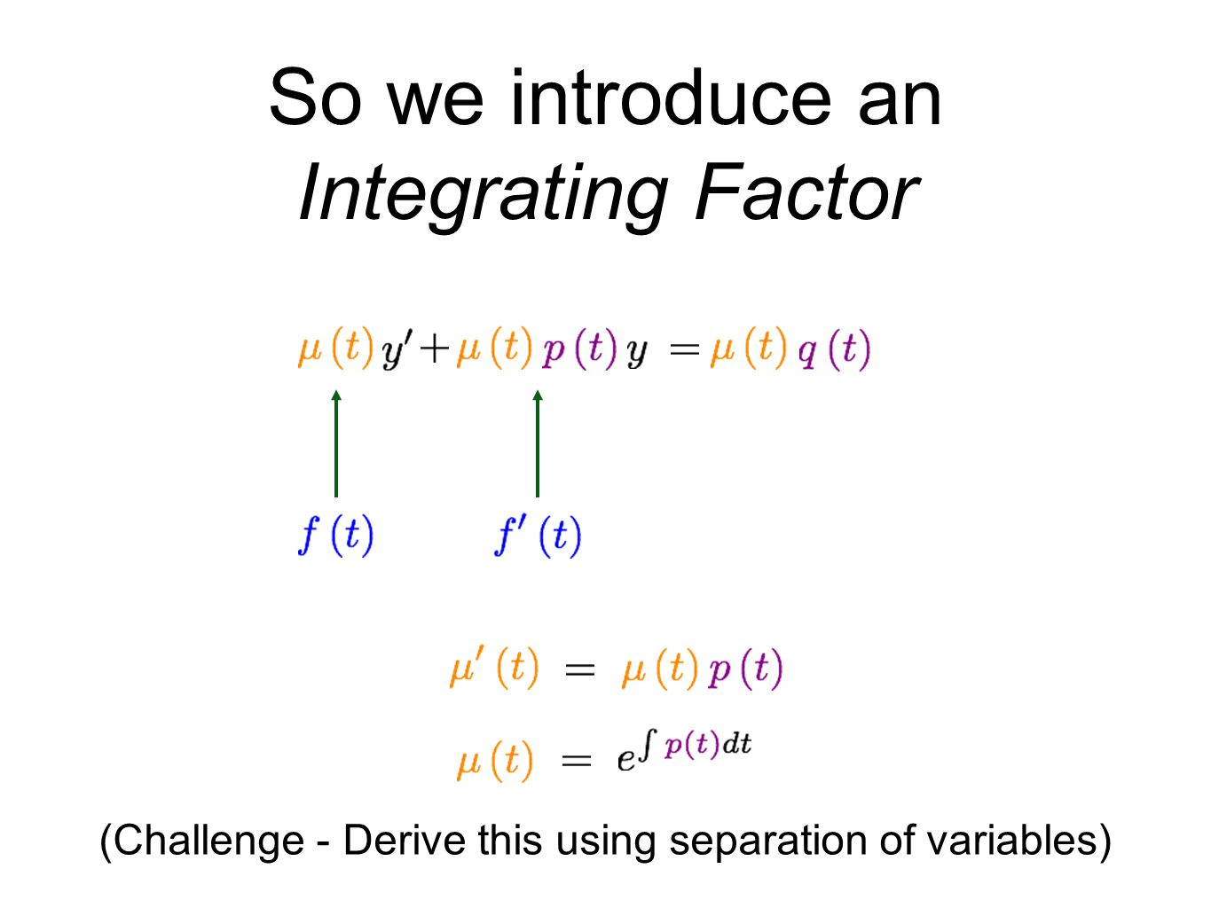 (Challenge - Derive this using separation of variables)