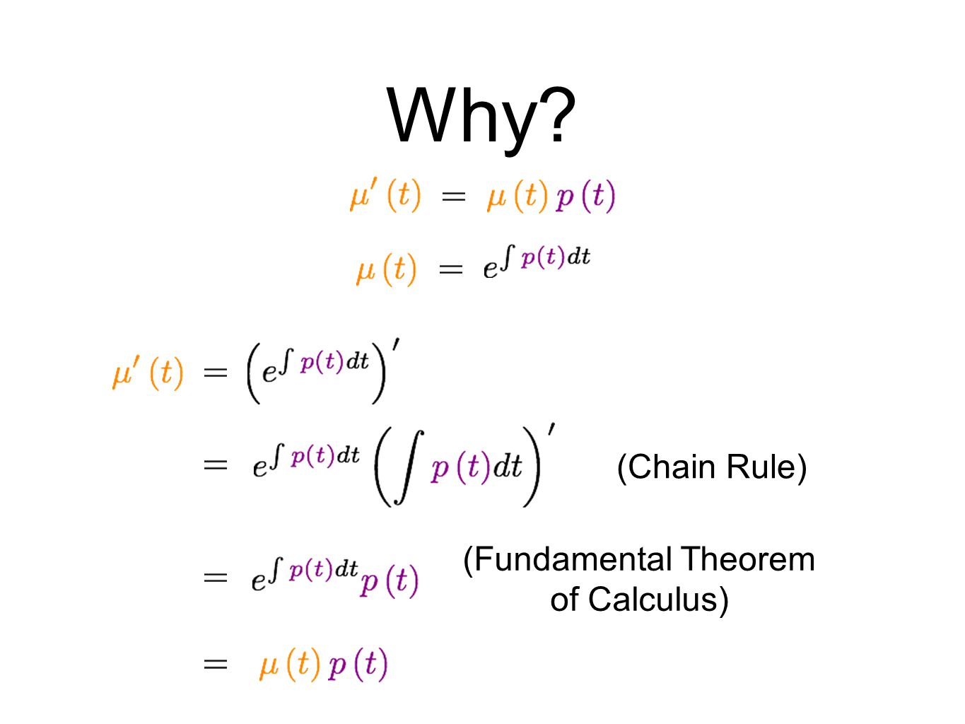 Why (Chain Rule) (Fundamental Theorem of Calculus)