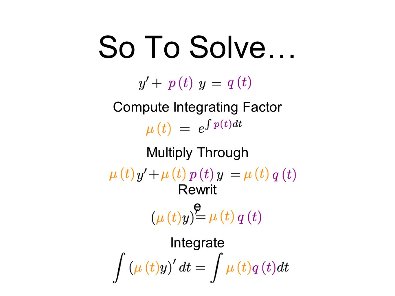 So To Solve… Compute Integrating Factor Multiply Through Rewrit e Integrate