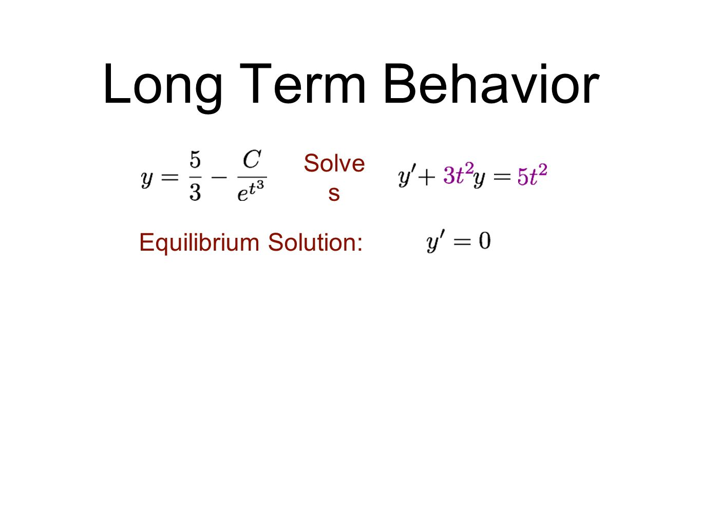 Long Term Behavior Solve s Equilibrium Solution: