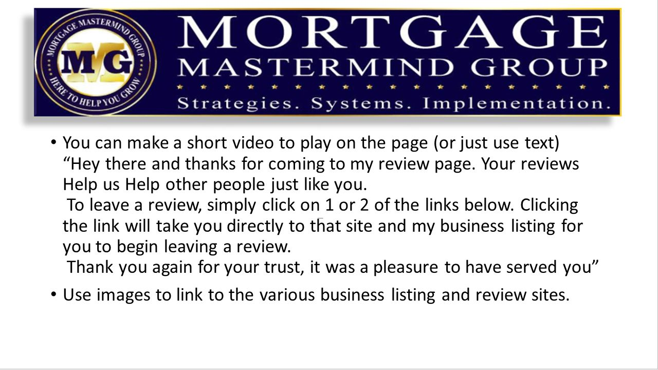 You can make a short video to play on the page (or just use text) Hey there and thanks for coming to my review page.