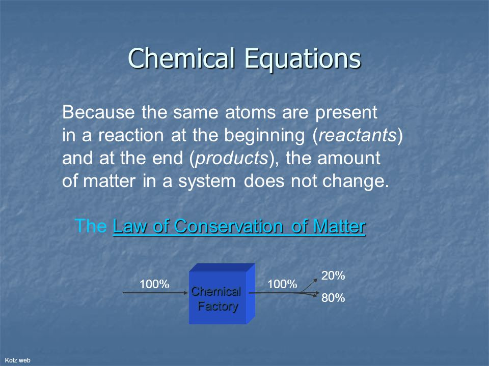 Chemical Equations Because the same atoms are present in a reaction at the beginning (reactants) and at the end (products), the amount of matter in a system does not change.