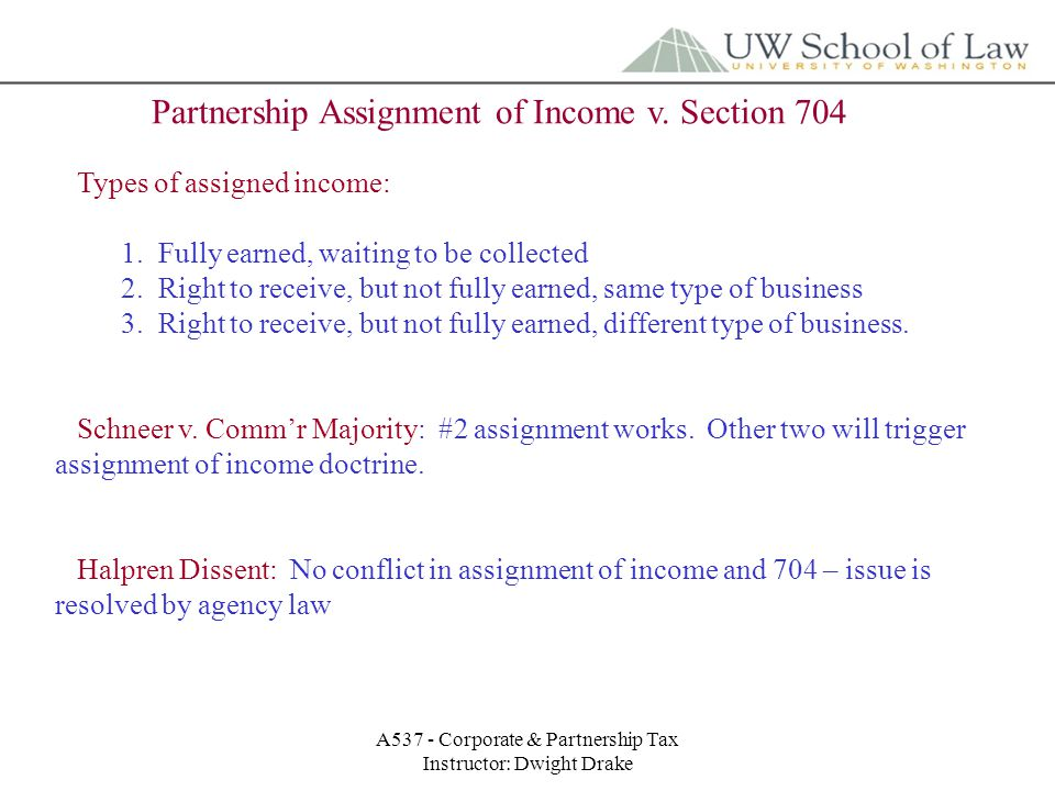 A537 - Corporate & Partnership Tax Instructor: Dwight Drake Partnership Assignment of Income v.