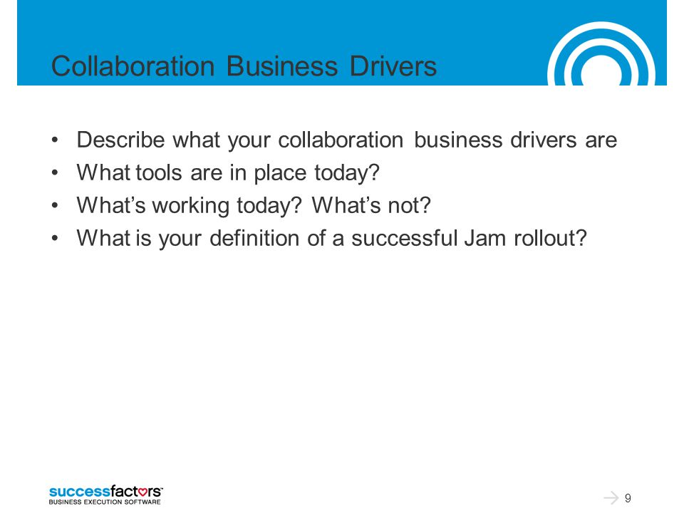 Collaboration Business Drivers Describe what your collaboration business drivers are What tools are in place today.