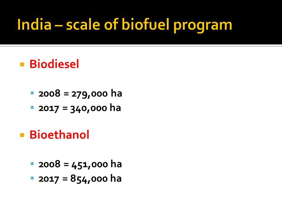India – scale of biofuel program  Biodiesel  2008 = 279,000 ha  2017 = 340,000 ha  Bioethanol  2008 = 451,000 ha  2017 = 854,000 ha