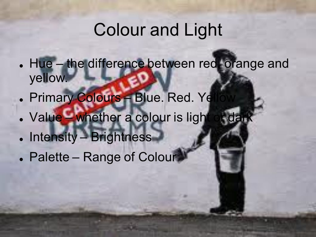 Colour and Light Hue – the difference between red, orange and yellow.