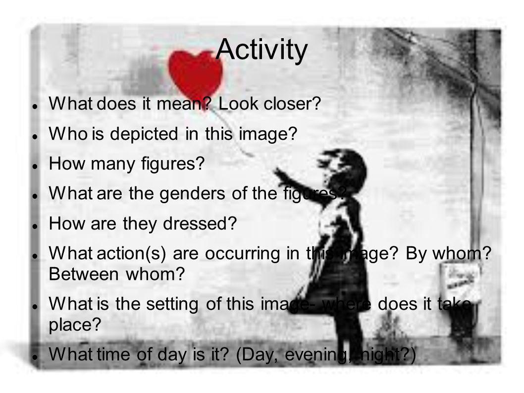 Activity What does it mean. Look closer. Who is depicted in this image.