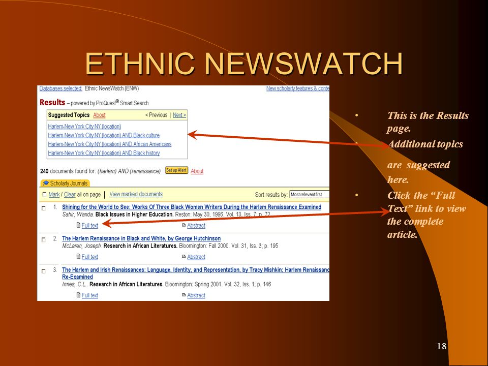 17 ETHNIC NEWSWATCH This is the Advanced Search page.