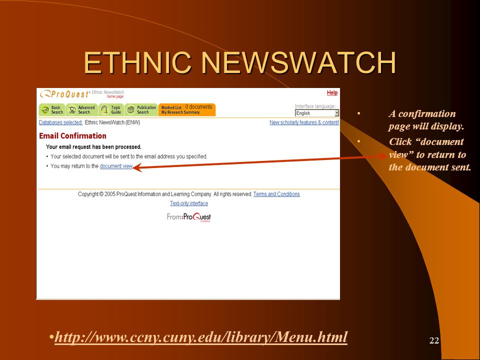 21 ETHNIC NEWSWATCH Select full text. Enter your name.