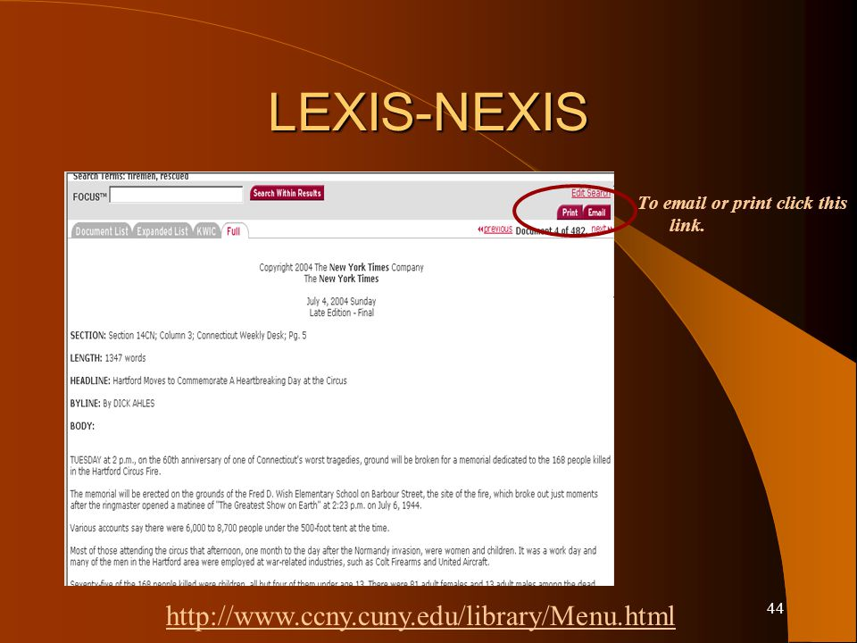 43 LEXIS-NEXIS Results are listed. Click the title link to view the full text.