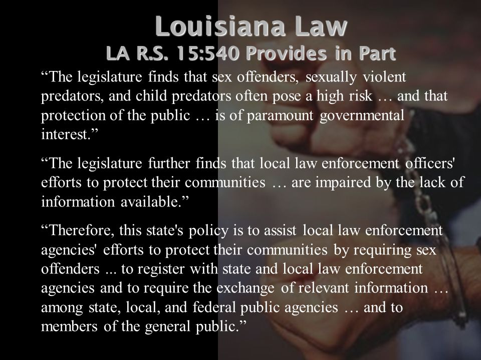 Sex offense laws in louisana