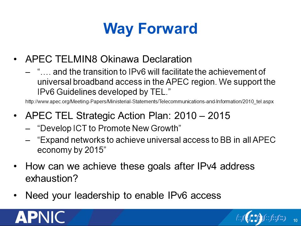 Way Forward APEC TELMIN8 Okinawa Declaration – ….