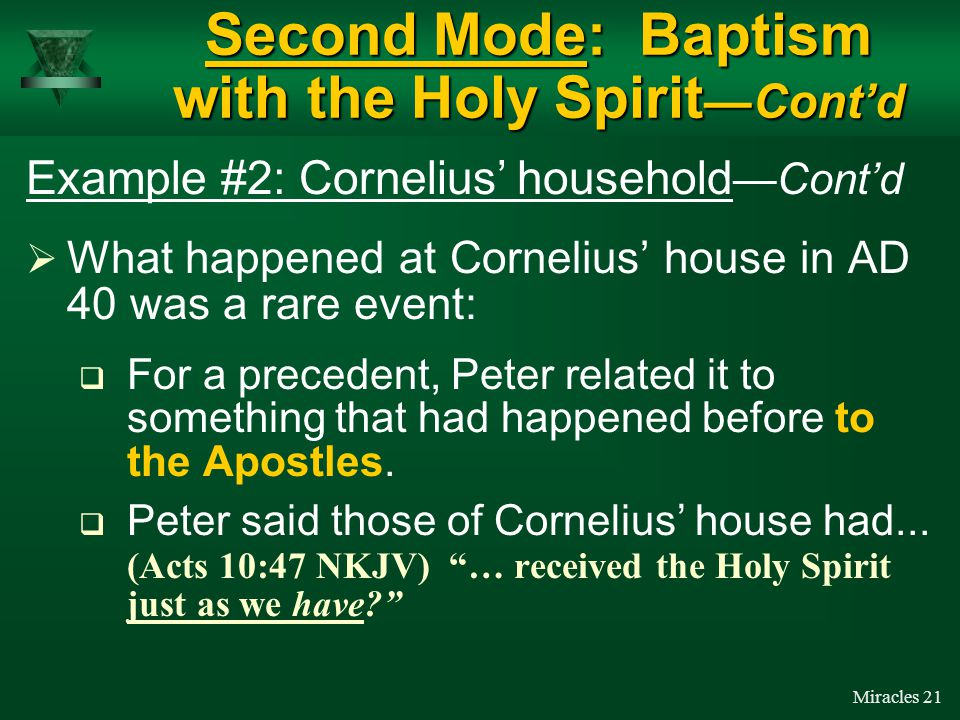 Miracles 20  While Peter was still preaching… (Acts 10:44 NKJV) … the Holy Spirit fell upon all those who heard the word.
