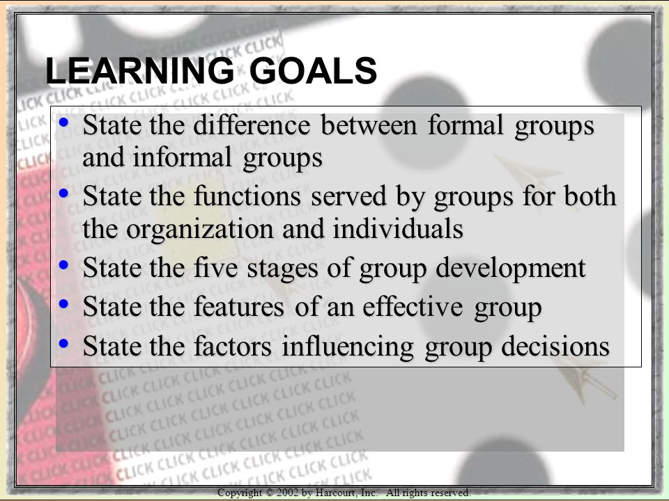 Copyright © 2002 by Harcourt, Inc. All rights reserved. State the difference between formal groups and informal groups State the difference between fo