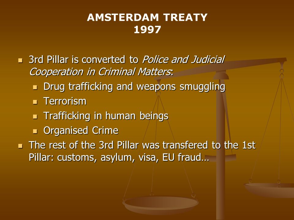 AMSTERDAM TREATY rd Pillar is converted to Police and Judicial Cooperation in Criminal Matters: 3rd Pillar is converted to Police and Judicial Cooperation in Criminal Matters: Drug trafficking and weapons smuggling Drug trafficking and weapons smuggling Terrorism Terrorism Trafficking in human beings Trafficking in human beings Organised Crime Organised Crime The rest of the 3rd Pillar was transfered to the 1st Pillar: customs, asylum, visa, EU fraud… The rest of the 3rd Pillar was transfered to the 1st Pillar: customs, asylum, visa, EU fraud…