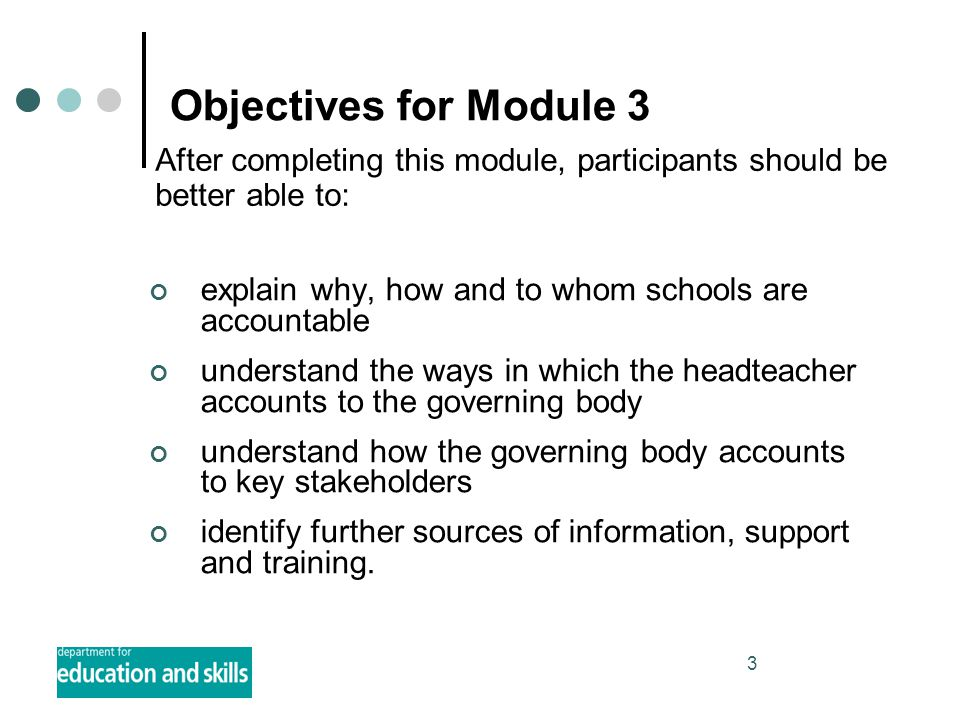 3 Objectives for Module 3 explain why, how and to whom schools are accountable understand the ways in which the headteacher accounts to the governing body understand how the governing body accounts to key stakeholders identify further sources of information, support and training.