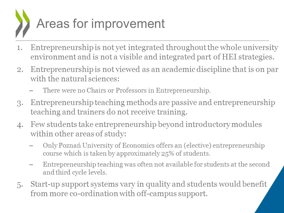 1.Entrepreneurship is not yet integrated throughout the whole university environment and is not a visible and integrated part of HEI strategies.