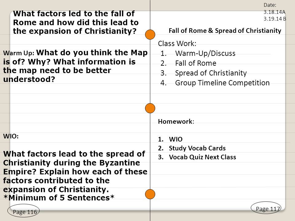 Fall of Rome & Spread of Christianity Page 116 Warm Up: What do ...