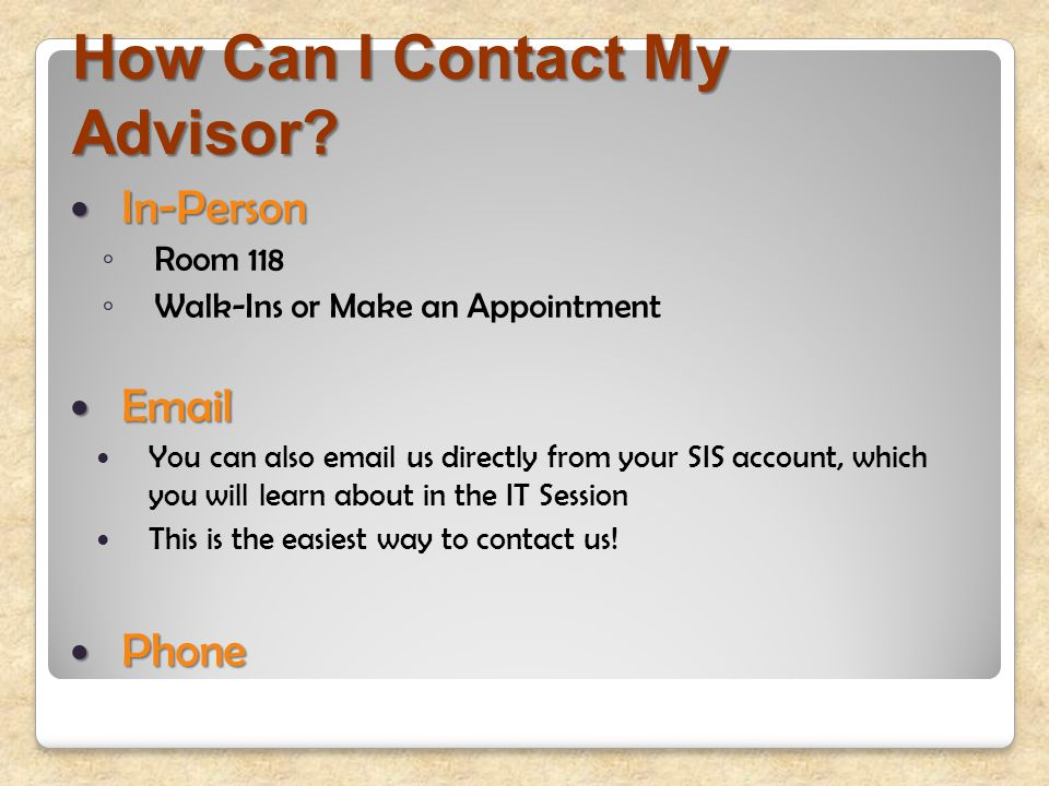 How Can I Contact My Advisor.