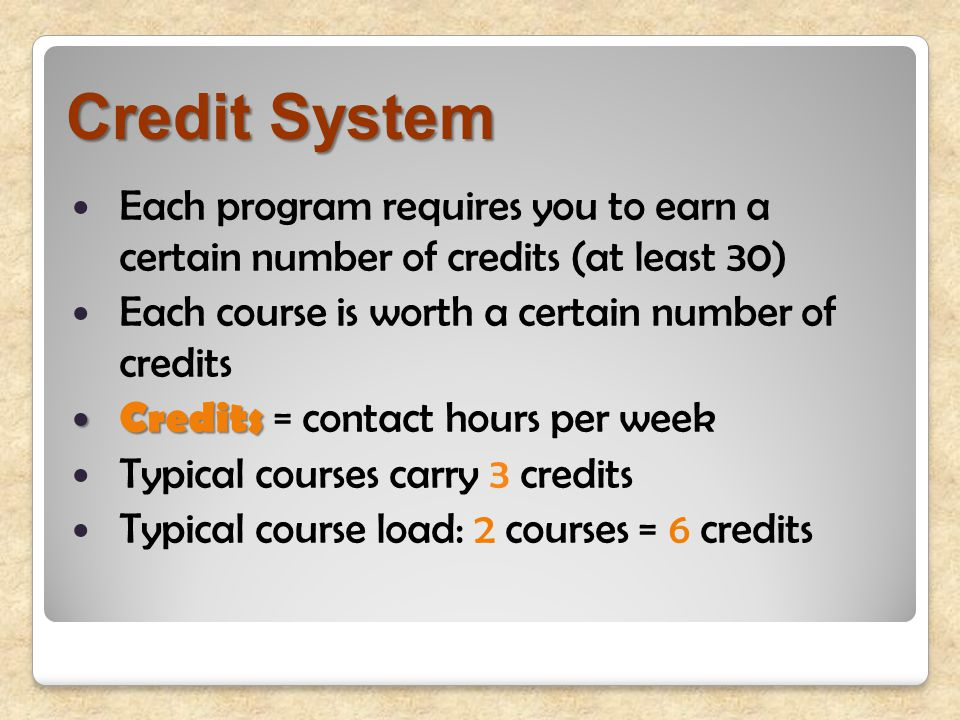 Credit System Each program requires you to earn a certain number of credits (at least 30) Each course is worth a certain number of credits Credits Credits = contact hours per week Typical courses carry 3 credits Typical course load: 2 courses = 6 credits