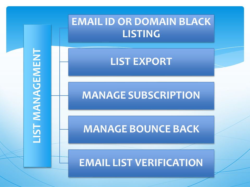 LIST MANAGEMENT  ID OR DOMAIN BLACK LISTING LIST EXPORT MANAGE SUBSCRIPTION MANAGE BOUNCE BACK  LIST VERIFICATION