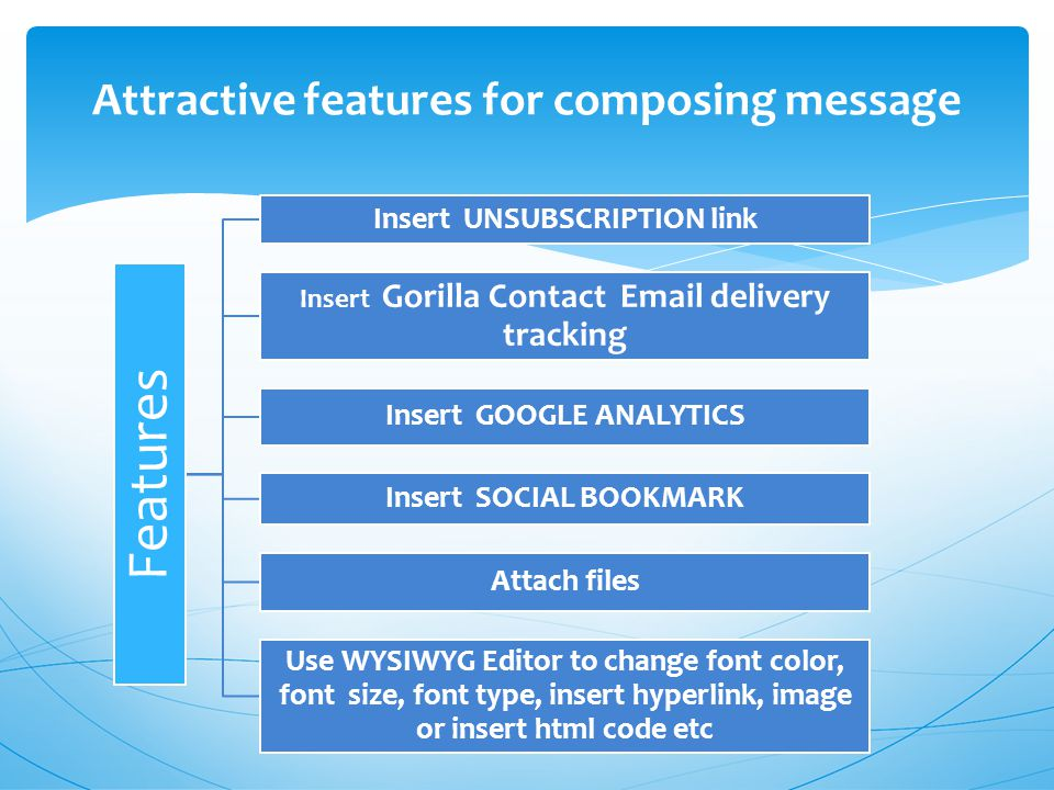 Attractive features for composing message Features Insert UNSUBSCRIPTION link Insert Gorilla Contact  delivery tracking Insert GOOGLE ANALYTICS Insert SOCIAL BOOKMARK Attach files Use WYSIWYG Editor to change font color, font size, font type, insert hyperlink, image or insert html code etc