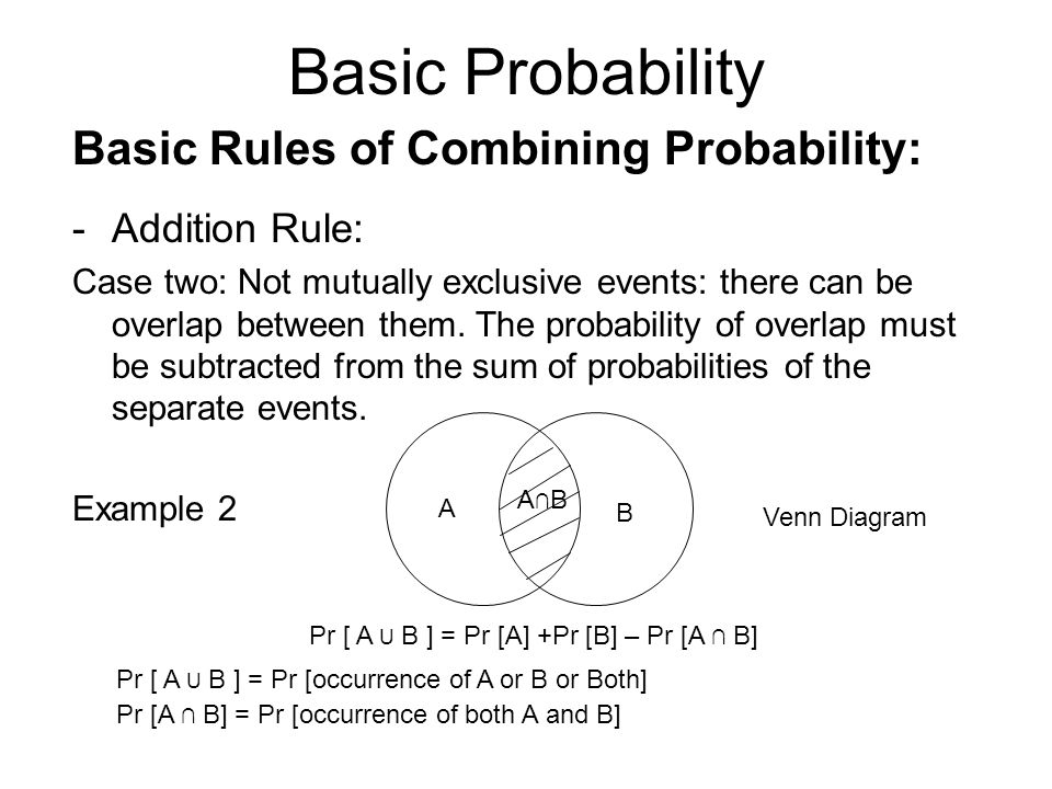 Basic Probability Basic Rules of Combining Probability: -Addition Rule: Case two: Not mutually exclusive events: there can be overlap between them.