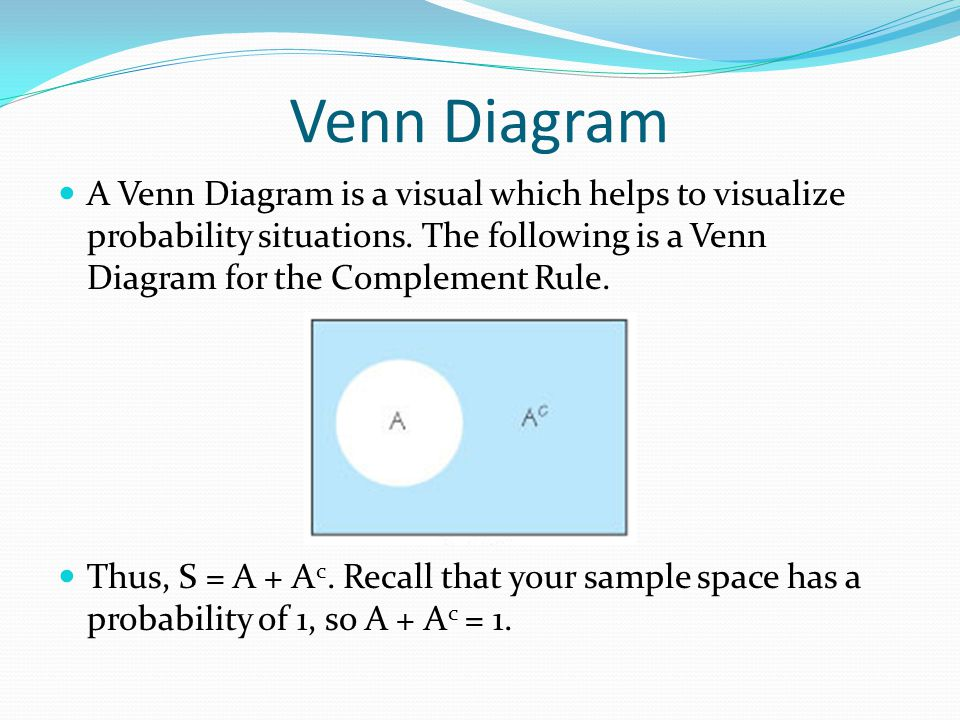 Venn Diagram A Venn Diagram is a visual which helps to visualize probability situations.