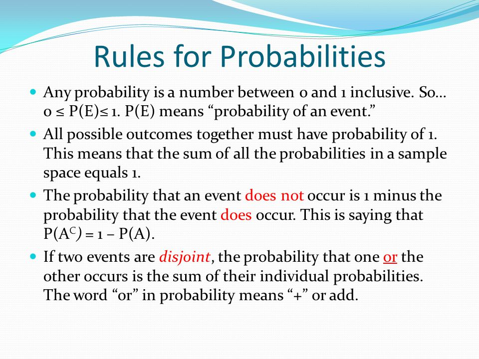 Rules for Probabilities Any probability is a number between 0 and 1 inclusive.
