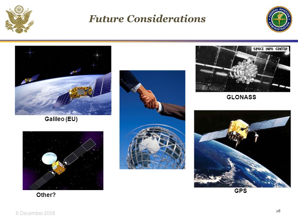 8 December Future Considerations GLONASS GPS Galileo (EU) Other