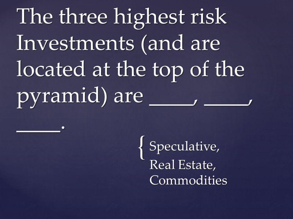 { Speculative, Real Estate, Commodities The three highest risk Investments (and are located at the top of the pyramid) are ____, ____, ____.