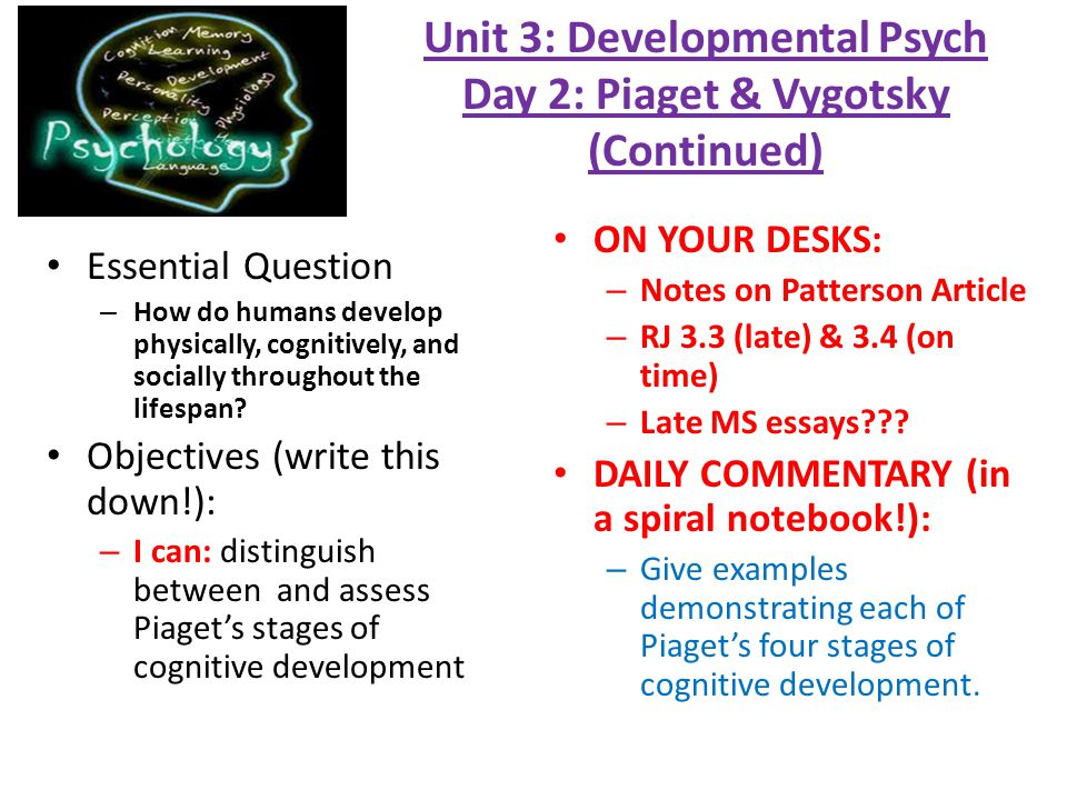 essays on piaget Compare and contrast piaget's and vygotsky's views of cognitive development similarities of piaget's and vygotsky's views the essay could be improved by.