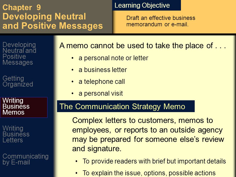 Learning Objective Chapter 9 Developing Neutral And Positive