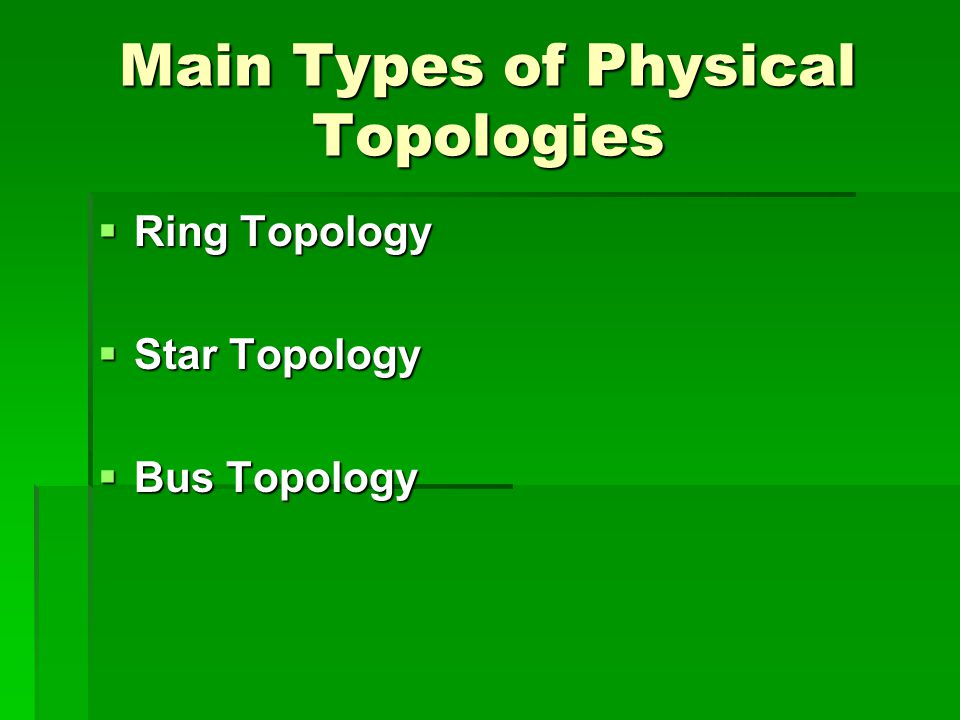 Main Types of Physical Topologies  Ring Topology  Star Topology  Bus Topology
